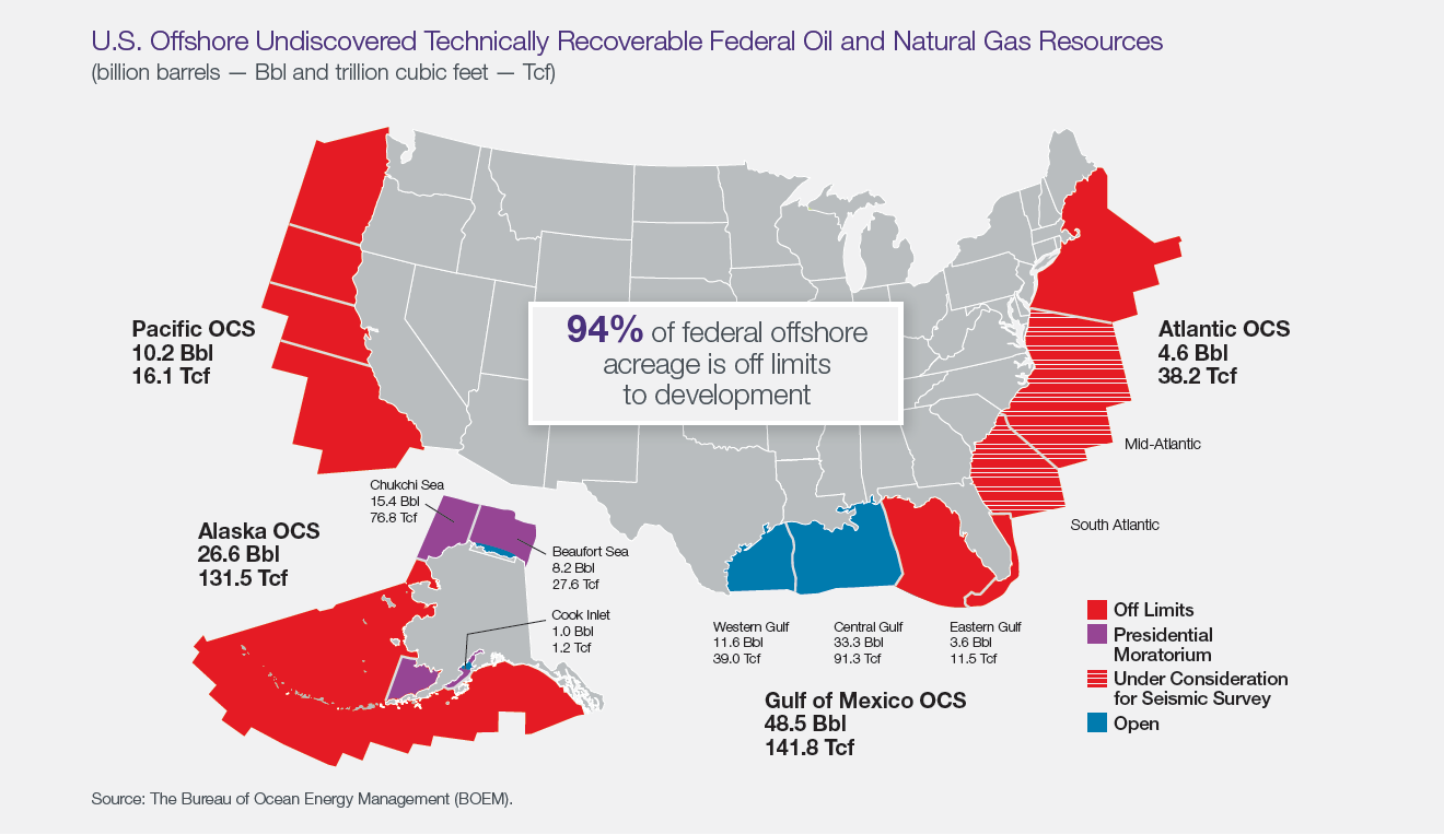 Map: U.S. Offshore technically recoverable resources