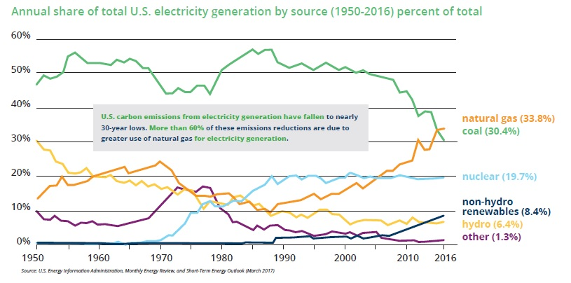 Annual share of electricity generation from natural gas